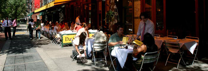 Al Fresco casual sidewalk cafes are everywhere in NYC - feature yours here and stand out from the rest